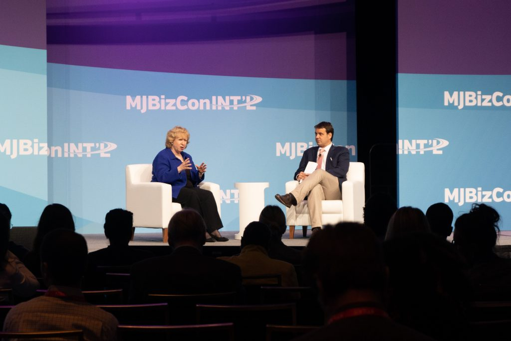 This year's MJBizCon International event included a Fireside Chat with former Prime Minister Kim Campbell. (Credit: Jean Ko Din)
