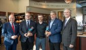 Canopy Growth's Jeff Ryan, second from the left, celebrates a new partnership with Niagara College's Teaching Winery. (Photo courtesy: Niagara College, Facebook)