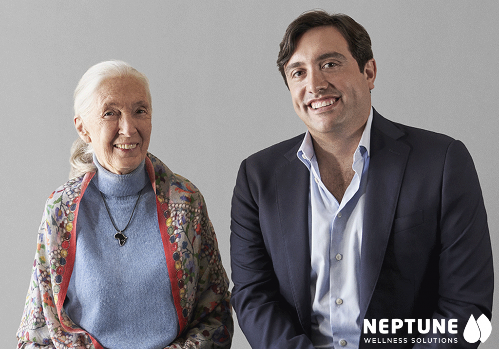 Nobel-Prize-winning anthropologist Dr. Jane Goodall with Neptune Wellness CEO Michael Cammarata. (Credit: Neptune Wellness Solutions Inc. via Facebook)